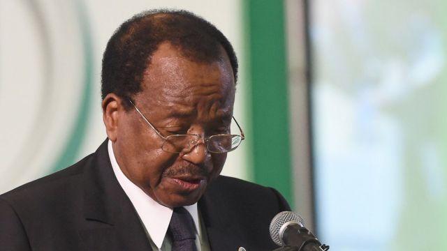 Cameroon President, Paul Biya dey give speech