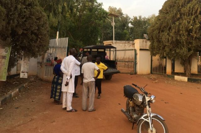 Parents and relatives gathered at the school for news on the fate of their children
