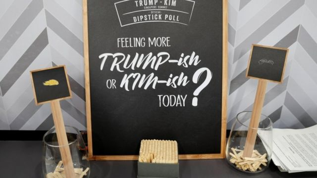 A dipstick poll set up to measure journalists' preference for food choices linked to Mr Trump and Mr Kim at the dining hall of the media centre, 10 June 2018