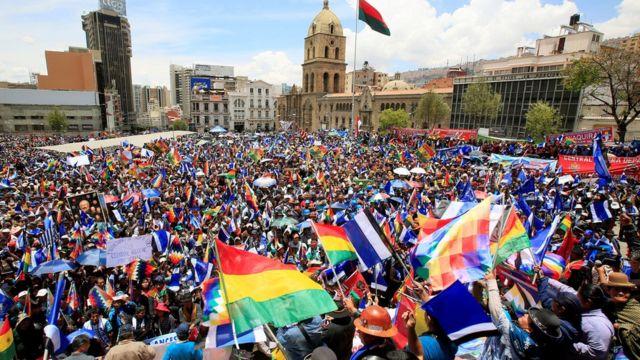 Manifestación a favor de Morales