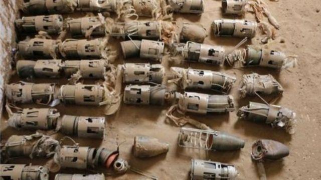 تصویر بمبهای خوشهای جمعآوری شده در یمن که عفو بینالملل منتشر کرده است
