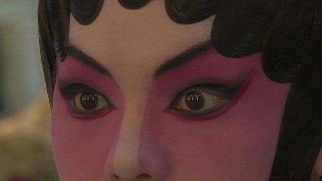 Close up of Cantonese Opera performer's face