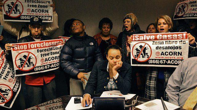 Protesto contra retomada de imóveis nos EUA
