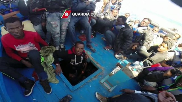 Migrants rescued near Lampedusa in Italy