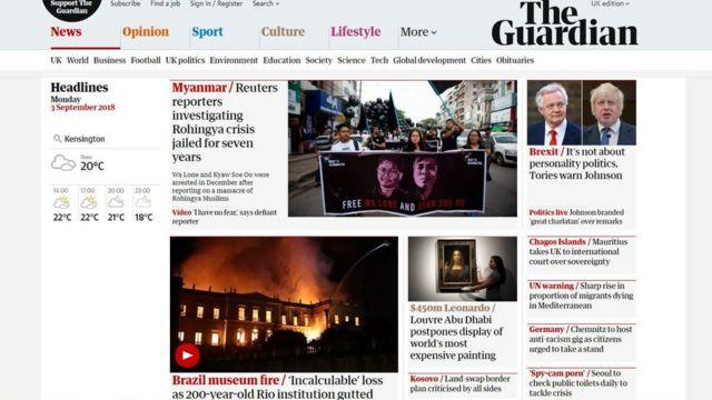 Capa do site do jornal britânico The Guardian destaca 'perda incalculável'