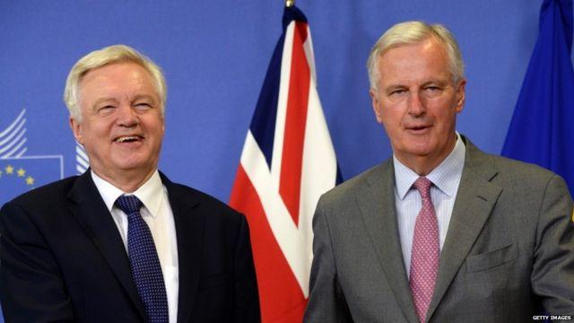 David Davis (left) and Michel Barnier