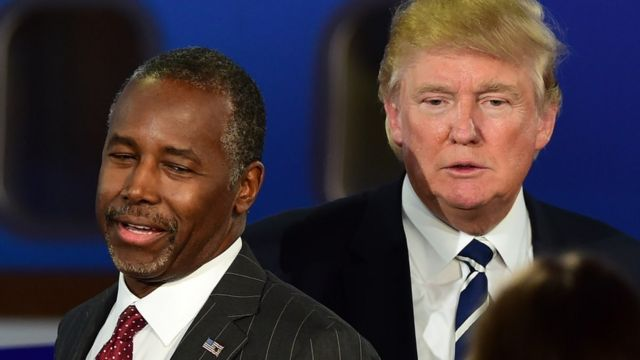 Ben Carson and Donald Trump on 16 September 2015