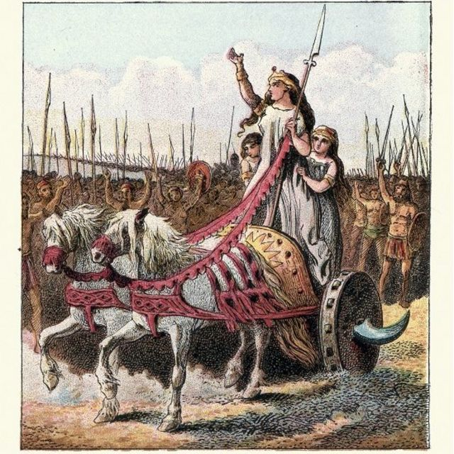 Grabado antiguo de Boudicca cabalgando en su carro a la cabeza de su ejército.