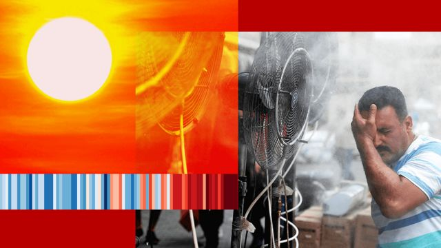 Image of a man trying to cool off in front of a fan