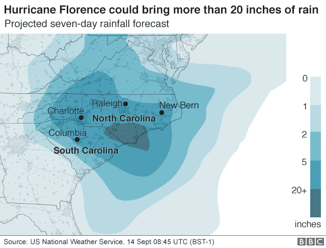 Map showing projected rainfall forecasts for Hurricane Florence