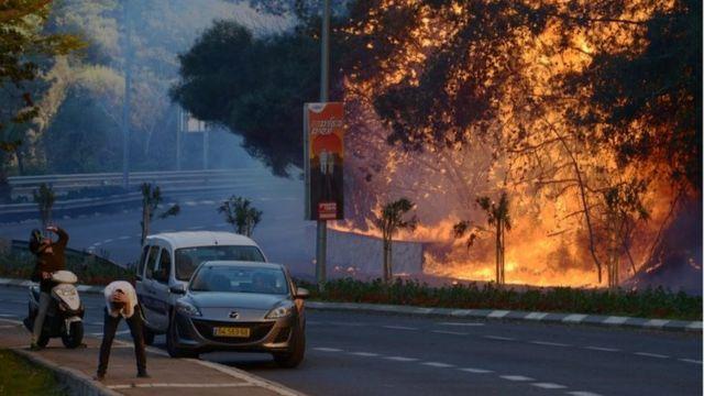 इसराइल के हैफ़ा में आग