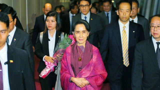 Daw Aung San Suu Kyi arrives Japan
