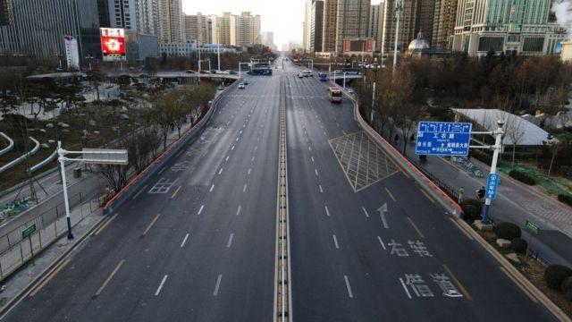 An empty road in Shijiazhuang