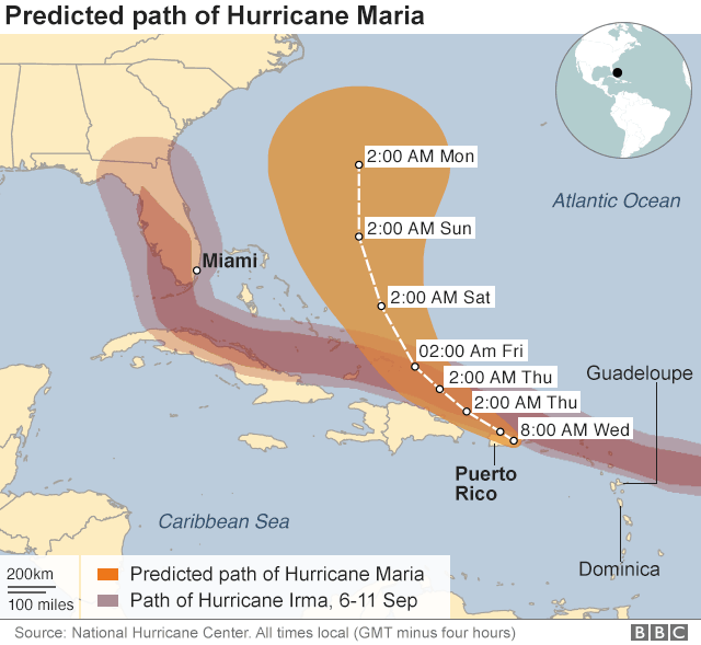 Maria path map also shows Irma's track