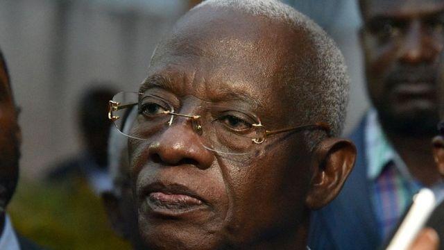 Aboudramane Sangaré, lors d'une réunion de l'opposition ivoirienne, le 15 mars 201