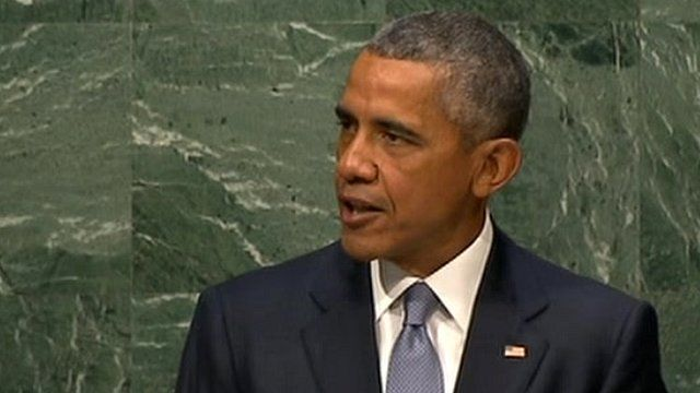 President Obama addressing the United Nations General Assembly.