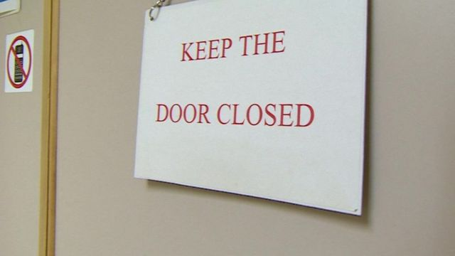 A sign on a door