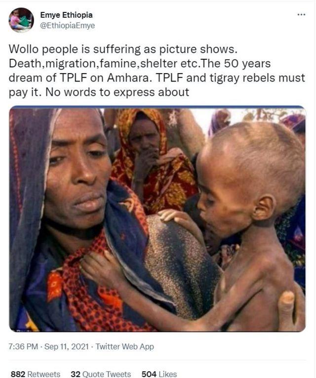 لقطة لتغريدة مع صورة من إقليم الصومال