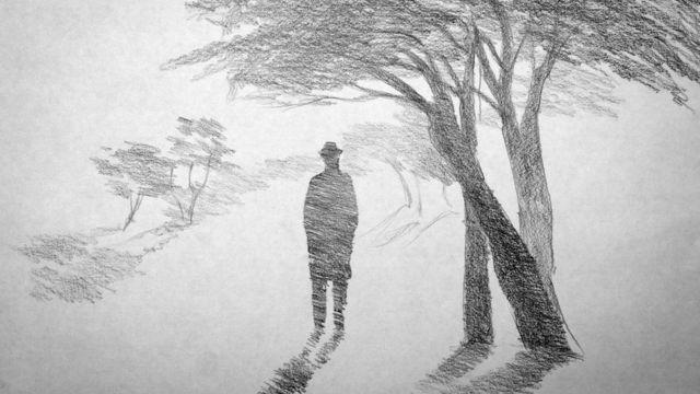 Desenho de uma silhueta de um home entre árvores