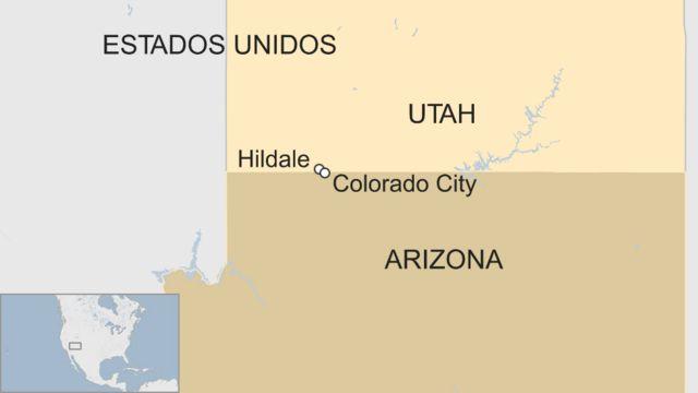Map of the Arizona-Utah border.