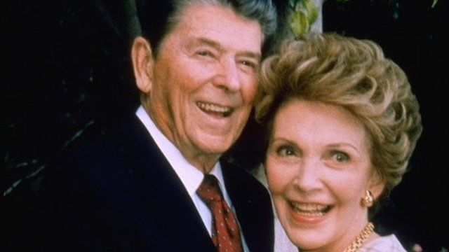 Former President of the United States Ronald Reagan and his wife Nancy