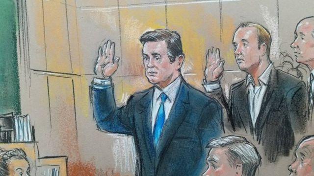 Dibujos de Manafort y Gates, durante una audiencia en el medio de la investigación de Rusia y su posible vínculo con la campaña presidencial de Trump.