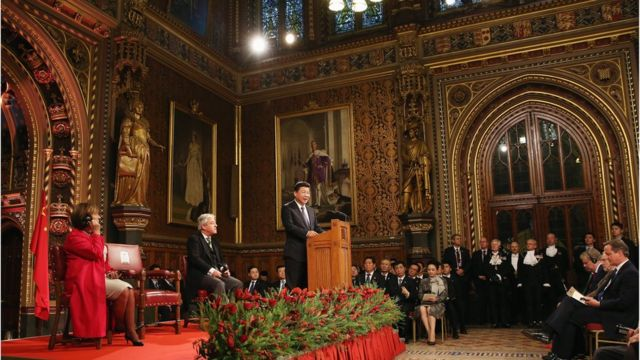 China's President Xi Jinping addresses MPs and peers in Parliament