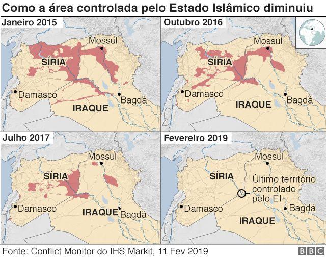 Gráfico: como a área controlada pelo Estado Islâmico diminuiu