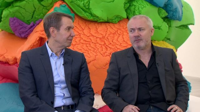 Jeff Koons (left) and Damien Hirst