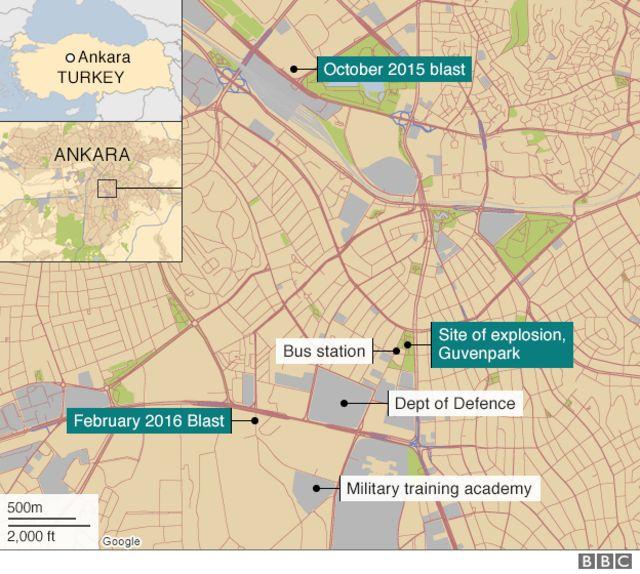 爆発現場と他の爆弾事件の位置