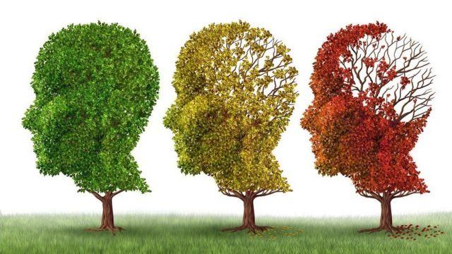 Árvores em forma de cabeça humana perdendo folhas