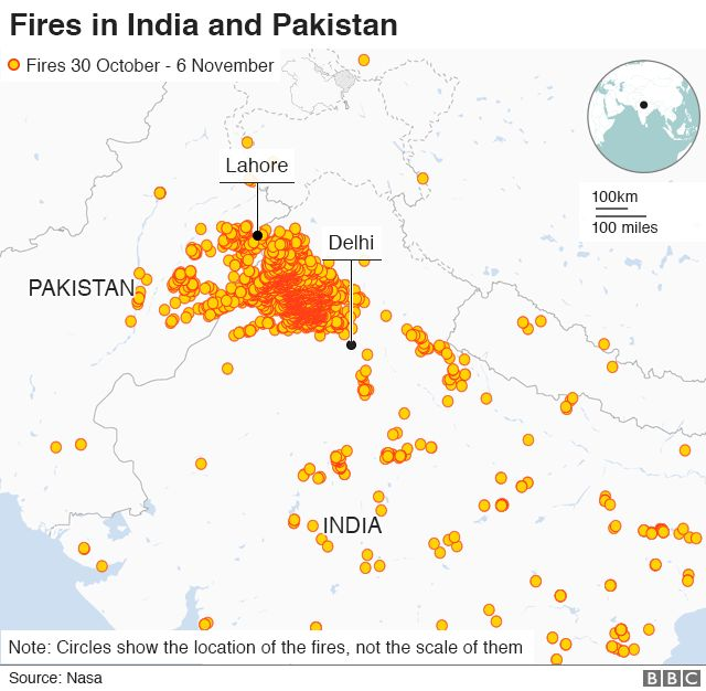 Map showing location of fires