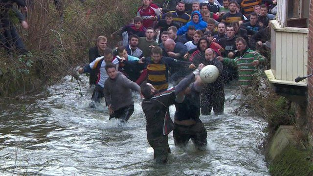 Players of Shrovetide football match