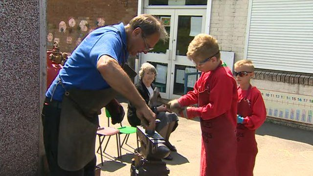 Pupils at Ysgol Y Login Fach in Swansea have been forging metal poppies