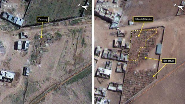 Fotografía aérea que da cuenta del crecimiento del cementerio de Nahja