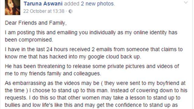 धमकी के जवाब में फेसबुक पर तरुणा की पोस्ट
