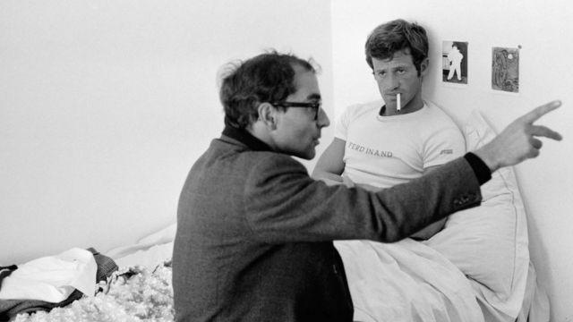 """Жан-Люк Годар и Бельмондо на съемочной площадке фильма """"Безумный Пьеро"""", 1965 год"""