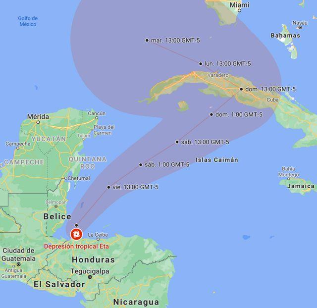 Posición y trayectoria de Eta prevista por el NHC, actualizado a las 19:05 CST (GMT-6) del jueves, 5 de noviembre.