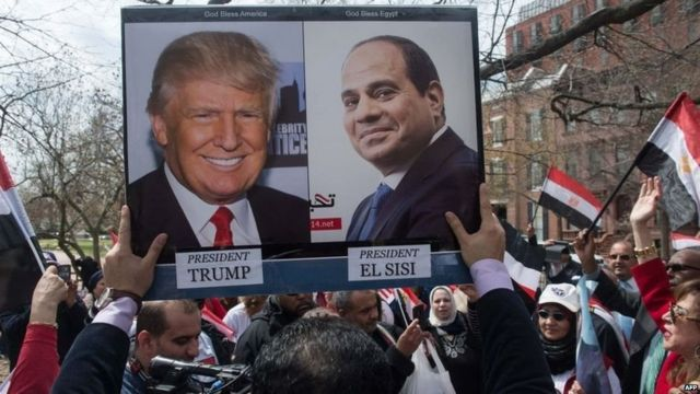 अमरीका के राष्ट्रपति डोनल्ड ट्रंप की तस्वीर मिस्र में