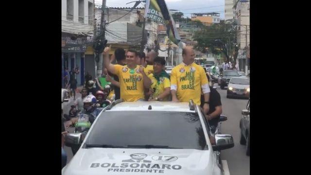 Flávio Bolsonaro e Witzel em campanha