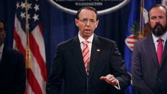 Vicefiscal general de EE.UU. Rod Rosenstein,