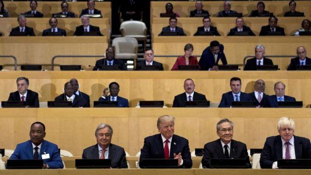 Trump y otros líderes previo a la reunión sobre la reforma de la ONU.