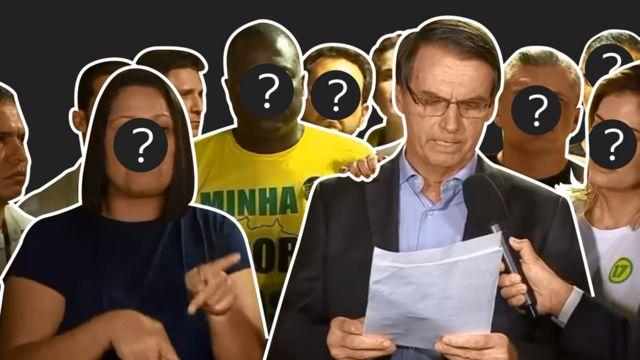 Bolsonaro discursando ao lado de aliados na noite de domingo, 28