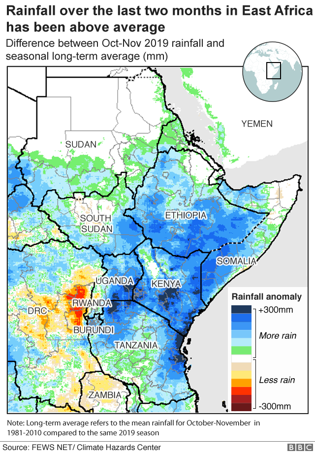 Map showing higher-than-average rainfall in Oct-Nov in East Africa