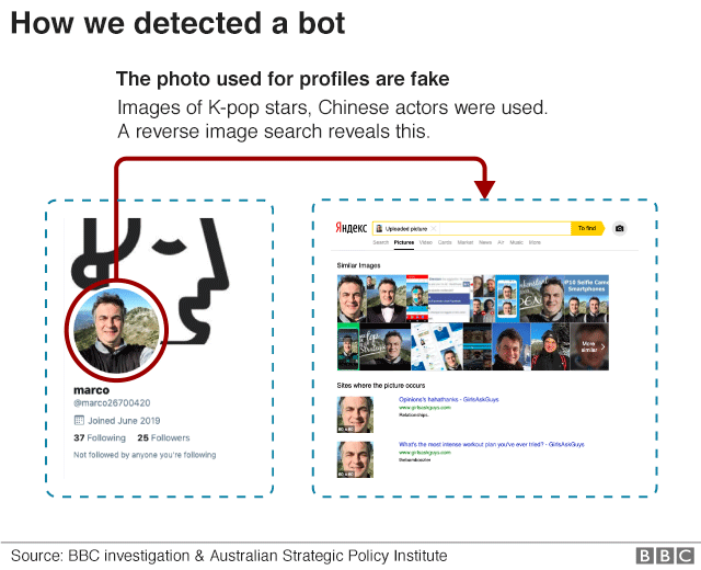 Graphic showing how images were lifted from other profiles to be used as bot profile images