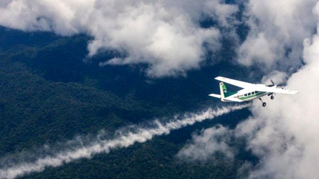 Самолет влетает в облако