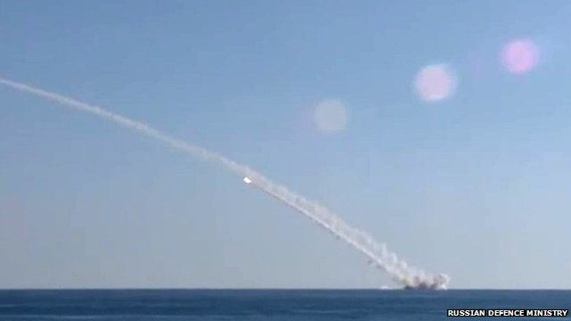 Russian submarine launching missiles