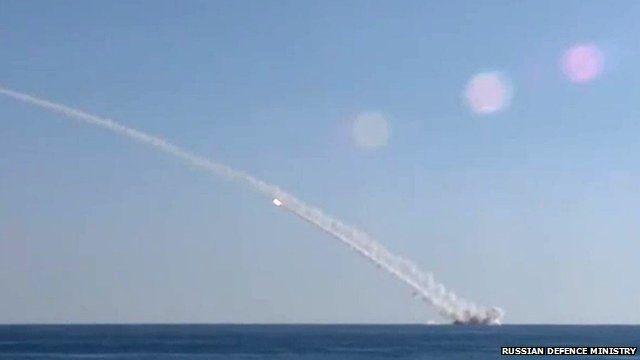 Russian submarine launching missiles