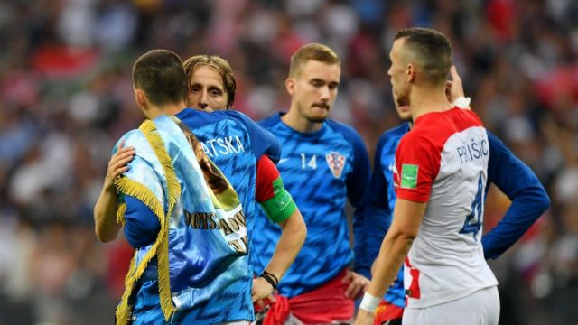 Luka Modrić of Croatia looks dejected following the 2018 FIFA World Cup Final between France and Croatia in Moscow, 15 July 2018