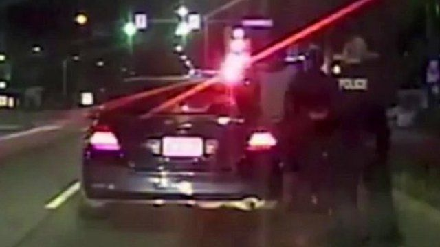 Still from Seattle police footage of traffic stop